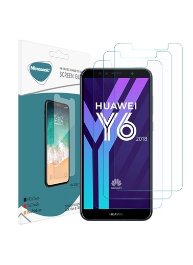 Microsonic Huawei Y6 2018 Ekran Koruyucu Nano Cam (3'lü Paket) Renksiz